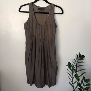 Aritzia Silk Mini Dress with Pockets in Army Green